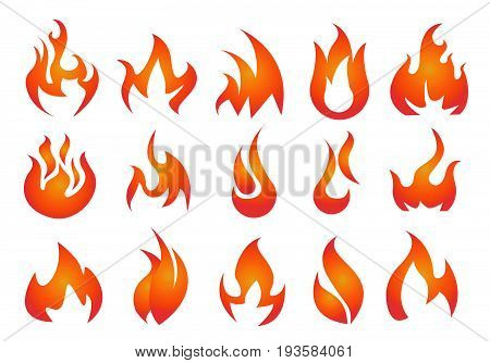 Fire Icons set vector illustration on white
