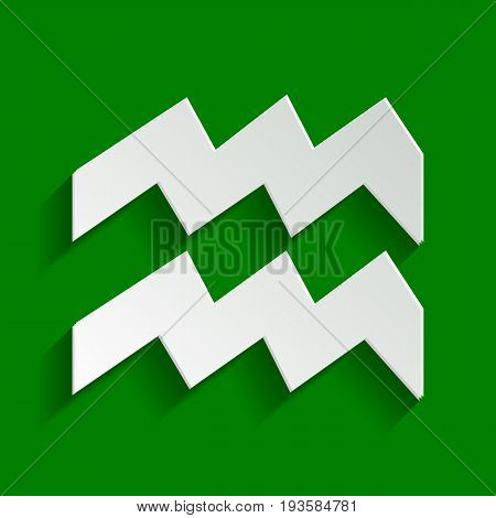 Aquarius sign illustration. Vector. Paper whitish icon with soft shadow on green background.