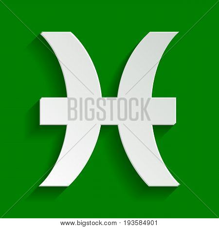 Pisces sign illustration. Vector. Paper whitish icon with soft shadow on green background.