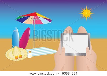 Beach umbrella towel straw hat glasses and surfboards are located on the beach. Sunburning tourist is holding the empty tablet screen. Empty tablet screen is ready for your text.