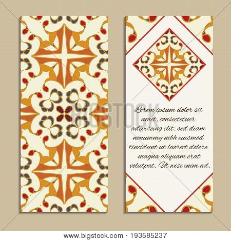 Vector set of colorful vertical banners for business and invitation. Spanish, Moroccan; Arabic; asian ornaments. Geometric and floral motifs