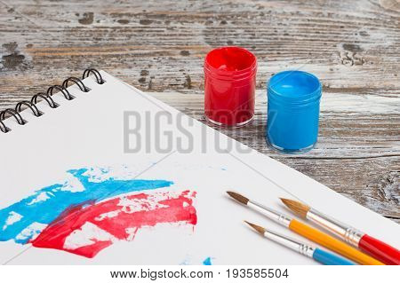 watercolor painting special painting tools on wooden background