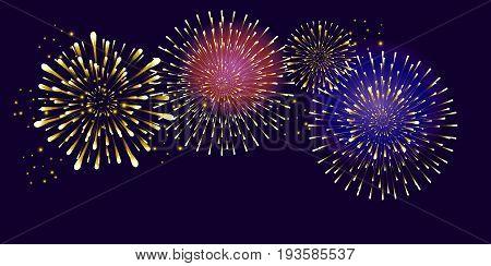 Realistic festive patterned firework bursting in various shapes burst sparkles, shiny stars against night background, for National Holiday, Festival, Christmas celebrate.