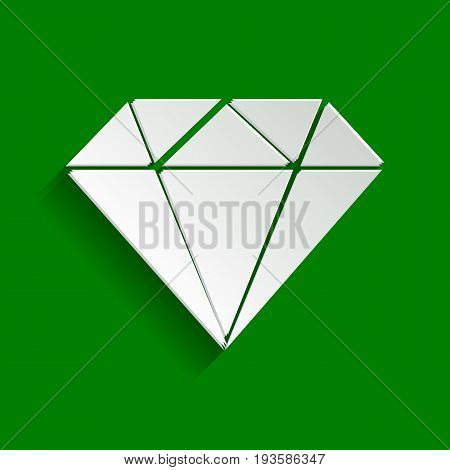 Diamond sign illustration. Vector. Paper whitish icon with soft shadow on green background.