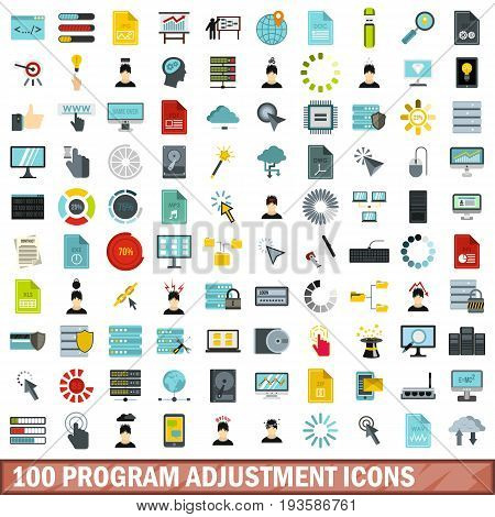100 program adjustment icons set in flat style for any design vector illustration