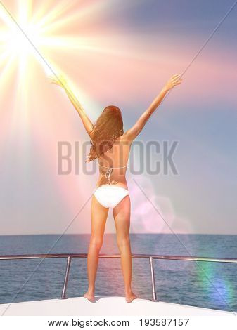 Rear view of young woman in bikini with arms outstretched on bow of yacht