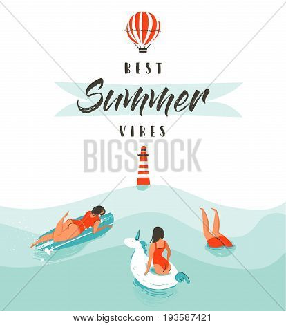 Hand drawn vector abstract summer time fun illustration with swimming happy people in water with lighthouse, hot air balloon and modern typography quote Best Summer Vibes isolated on white background