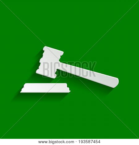 Justice hammer sign. Vector. Paper whitish icon with soft shadow on green background.