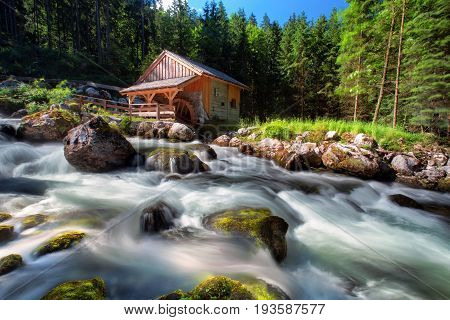 Old Mill And Beautiful Golling Waterfall And Near Golling And Salzach Medieval Town In Austria