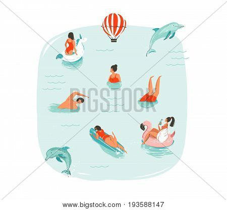 Hand drawn vector abstract summer time fun illustration with swimming happy people with jumping dolphins, hot air balloon, unicorn and pink flamingo buoys floats on blue water background isolated.