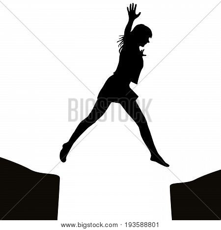 Woman silhouette jumping over a gap on white background