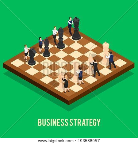 Isometric people business concept with isolated image of chess board with pieces driven by human characters vector illustration