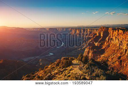 The River Colorado Through the Grand Canyon at Sunset Grand Canyon National Park Arizona USA