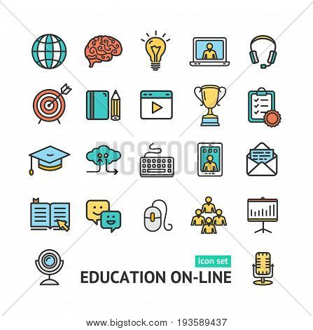 Symbol of Education Online Color Thin Line Icon Set Distance Course and Training, Internet Technology. Vector illustration