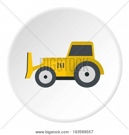 Skid steer loader bulldozer icon in flat circle isolated vector illustration for web