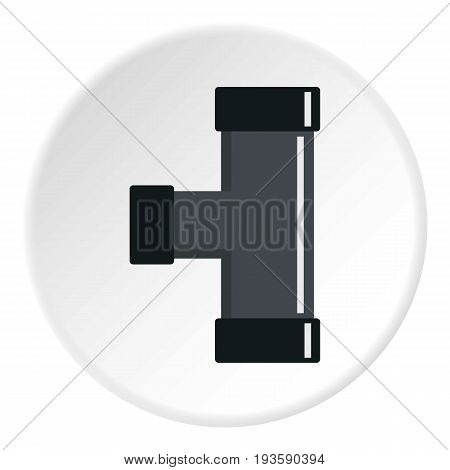 Black joint T pipe connection icon in flat circle isolated vector illustration for web
