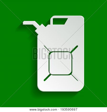 Jerrycan oil sign. Jerry can oil sign. Vector. Paper whitish icon with soft shadow on green background.