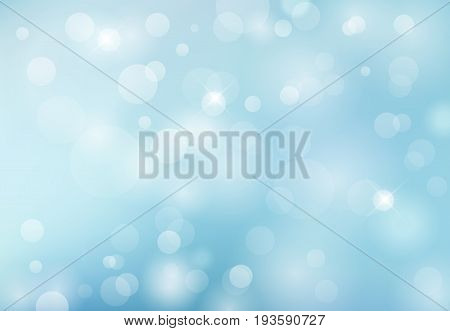 abstract spring summer bokeh light blue background. Vector Illustration copy space
