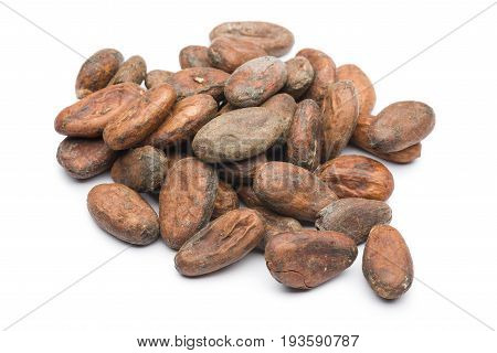 heap of cocoa beans on white background