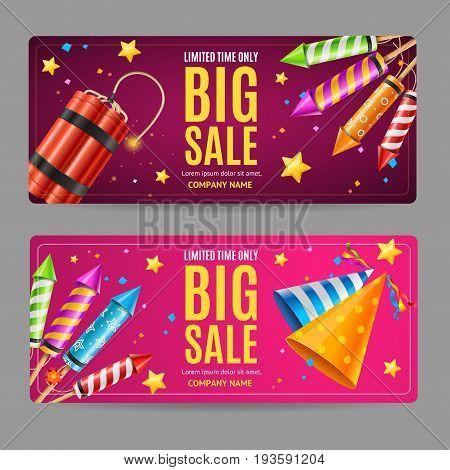 Big Sale Discount Menu Option Banner Card Set with Firework Rocket and Party Hat. Vector illustration