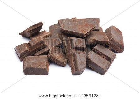 dark chocolate block broken on white background