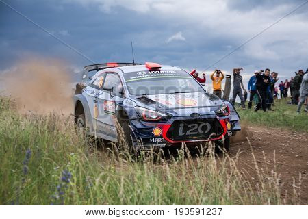 MIKOLAJKI, POLAND - JUL 1: Dani Sordo and his codriver Marc Marti in a Hyundai New Generation i20 WRC race in the 74nd Rally Poland, on July 2, 2017 in Mikolajki, Poland.