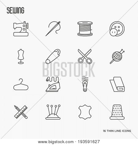 Sewing equipment thin line icons set: sewing machine, needle, thread, iron. Vector illustration.