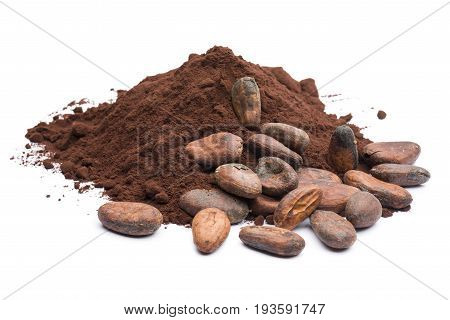 heap of dark cocoa powder with cocoa beans on white background