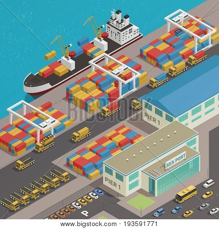 Freight barge moored at harbor wharf quayside pier loading with colorful cargo containers isometric composition vector illustration