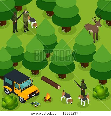 Hunting isometric composition with two groups of hunters hunt deer in the forest vector illustration
