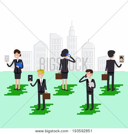 Businessman and businesswoman are using tablet and smartphone on megapolis background. Flat vector illustration.