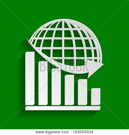 Declining graph with earth. Vector. Paper whitish icon with soft shadow on green background.
