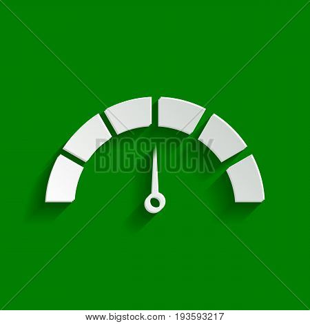 Speedometer sign illustration. Vector. Paper whitish icon with soft shadow on green background.