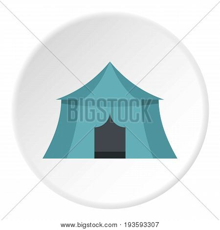 Blue yellow tourist tent for travel and camping icon in flat circle isolated vector illustration for web