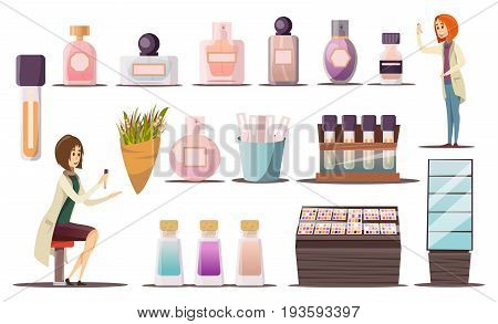 Perfume shop icon set with cosmetic corners shop windows and cosmetic products vector illustration