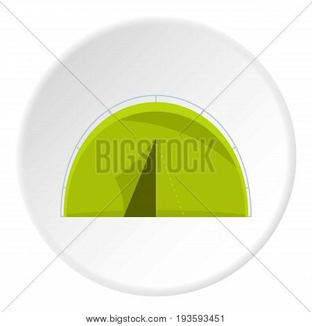 Green touristic camping tent icon in flat circle isolated vector illustration for web