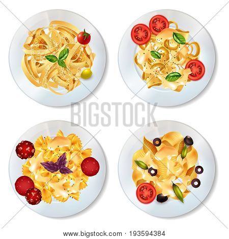 Delicious pasta dishes with sauce pepperoni tomatoes olives and herbs realistic set isolated on white background vector illustration
