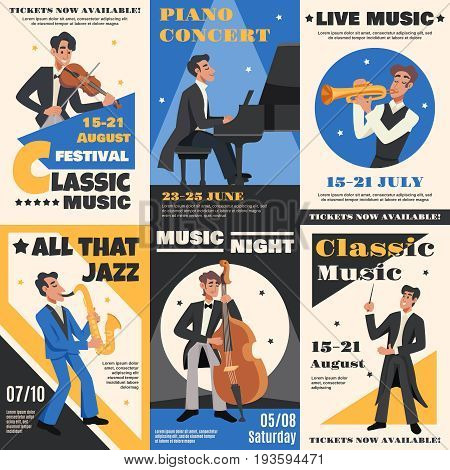 Colored musician poster banner set with classic music festival piano concert all that jazz descriptions vector illustration