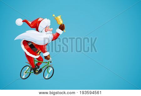 Santa claus with bell at bicycle. Christmas cartoon character. Old-man drive cycle to new year celebration. Winter holiday. Vector illustration.