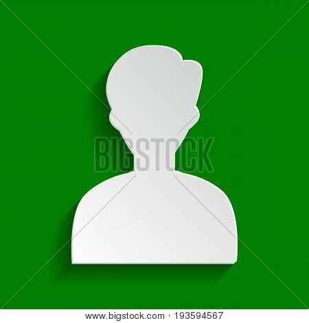 User avatar illustration. Anonymous sign. Vector. Paper whitish icon with soft shadow on green background.