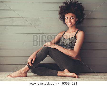 Afro American Girl Doing Sport
