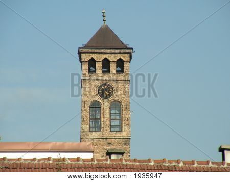 Sahat kula Sarajevo famous clock tower in old part of the city poster