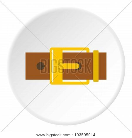 Belt with yellow square buckle icon in flat circle isolated vector illustration for web