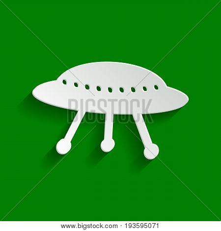 UFO simple sign. Vector. Paper whitish icon with soft shadow on green background.