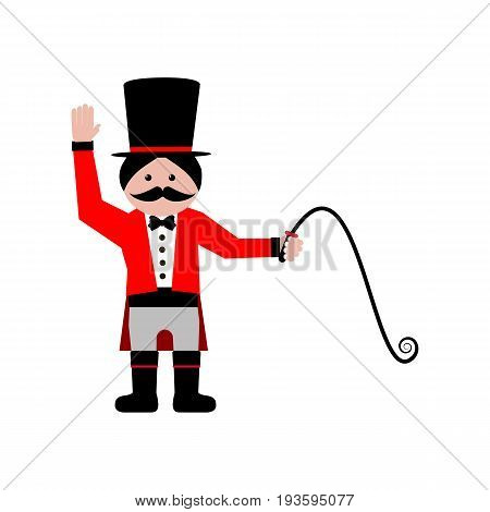 Circus trainer on the white background. Vector illustration