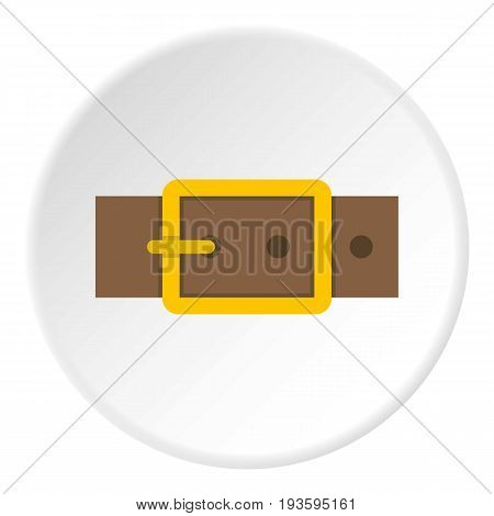 Gold square buckle icon in flat circle isolated vector illustration for web