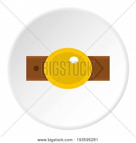 Belt with gold oval shaped buckle icon in flat circle isolated vector illustration for web