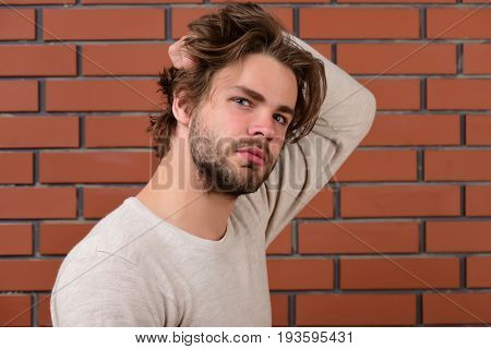 Bearded Man With Curious Face And Messy Hair