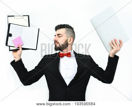 Businessman With Beard Or Director With Strong Look Holds Computer