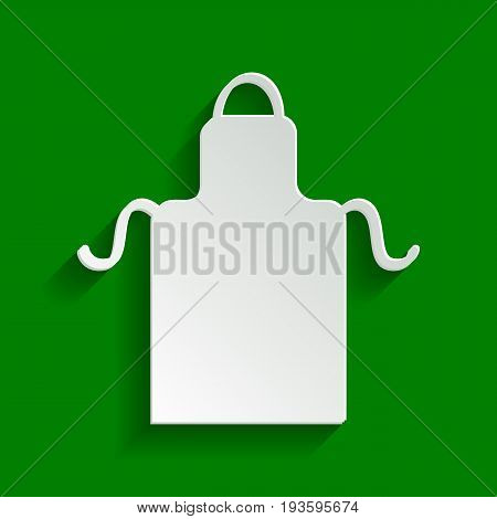 Apron simple sign. Vector. Paper whitish icon with soft shadow on green background.